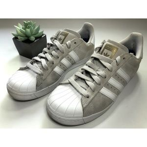 Adidas Custom Gray/White/Gold Suede Superstar